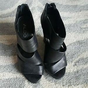 Aldo Wedge Booties Black Leather 36